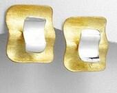 Retro Wavey Sterling Silver and Vermeil Earrings