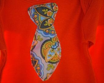 SALE - Organic Long Sleeve Bodysuit / Onesie for Baby Boys - Papaya Orange - Size 6-12 mo