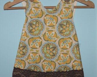 SALE - Bohemian Pinafore Dress and Reversible Bloomers Retro 2 PC SET - Organic Lining, Sizes: 6-12 mo, 12-18 mo, 18-24 mo, 2T