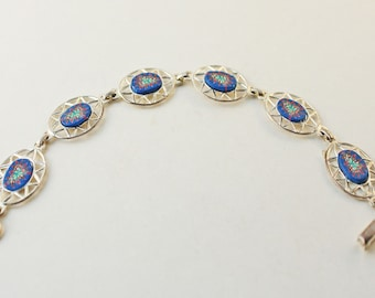 Silver plate and Polymer clay bracelet