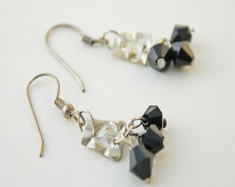 Precious metal clay Cha Cha earrings