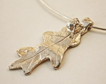 Silver Clay Oak Leaf Pendant