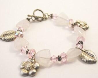 Pink Quartz and Metal Clay Charm Bracelet