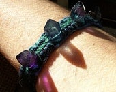 Crystal Geode Hemp Bracelet - Fluorite Gemstone Crystal Point Geode Hemp Jewelry - Fluorite Crystal Bracelet Gemstone Jewelry Spike Bracelet