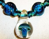 Blue Moon Swirl Handblown Mushroom Green and Blue Hemp Necklace with Lampwork Glass Beads and Pendant - Hemp Jewelry