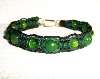 Aventurine Gemstone Hemp Bracelet - Green and Black Hemp Bracelet - Magnetic and Gemstone Hemp Jewelry Gemstone Jewelry Aventurine Bracelet