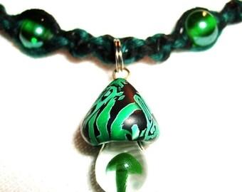 Magnetic Celtic Mushroom Hemp Necklace with Fimo Glass Pendant Boro Glass Emerald Green Glass and Gemstone Hematite Hemalyke Beads