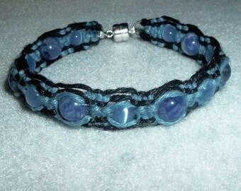 Gemstone Sodalite Sky Blue and Black Magnetic Hemp Bracelet - Gemstone Hemp Jewelry
