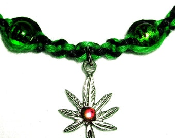 Hemp Cannibus Leaf Pewter Pendant on Magnetic Green and Black Hemp Necklace with Boro Glass and Hematite Beads