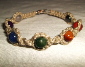 Chakra Gemstone Hemp Bracelet with Hematite Jasper Tigers Eye Jade Sodalite Amethyst and Quartz - Hemp Jewelry