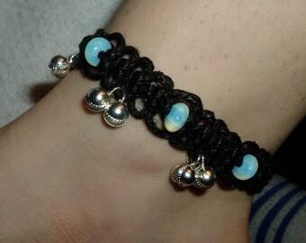 Moonstone Black Lace Bell Anklet - Gemstone Hemp Jewelry