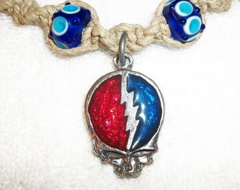 Grateful Dead Steal Your Face Skull Phat Hemp Necklace with Blown Glass Lampwork Boro Beads - Hemp Jewelry