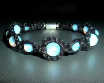 Opalite Magnetic Gemstone and Black Handmade Hemp Bracelet - Hemp Jewelry