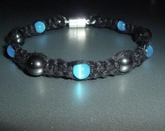 Magnetic Cat's Eye and Hematite Black Gemstone Hemp Bracelet - pick from colors sky blue green pink and purple - Hemp Jewelry  Hemp Bracelet