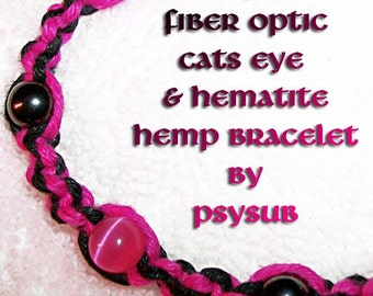 Hot Pink Fiber Optic and Magnetic Black Hemp Bracelet