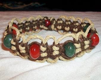Carnelian Bracelet - Aventurine Bracelet - Hemp Bracelet - Carnelian and Aventurine Brown Natural Phat Hemp Bracelet - Gemstone Hemp Jewelry
