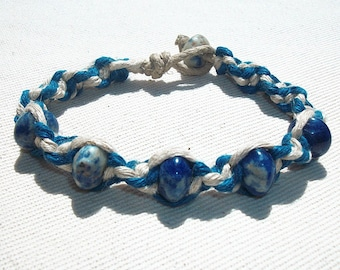 Sodalite Gemstone Beads on Thick Blue and Natiral Hemp Bracelet - Gemstone Hemp Jewelry Hemp Bracelet - Sodalite Bracelet - Gemstone Jewelry