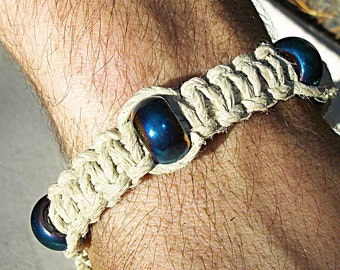 Indestructable Thick Hemp Bracelet with Glass Beads - Phat Natural Hemp Bracelet with Blue Beads - Hemp Jewelry