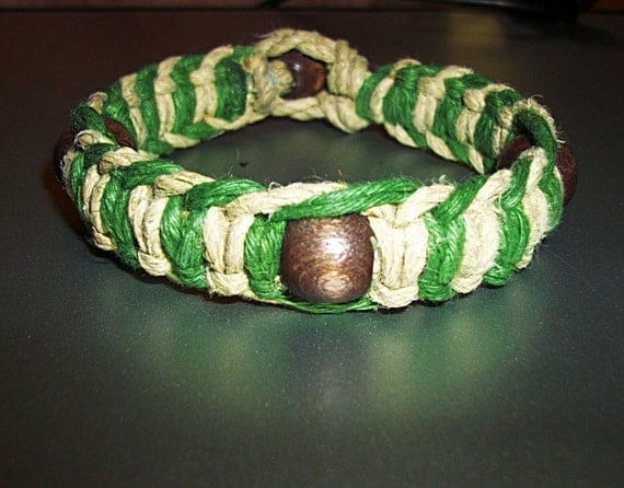 Super Phat Earthy Fishbone Olive and Natural Hemp Bracelet with Wood Beads - Hemp Jewelry Green and Brown Hemp Bracelet - Wood Bead Jewelry