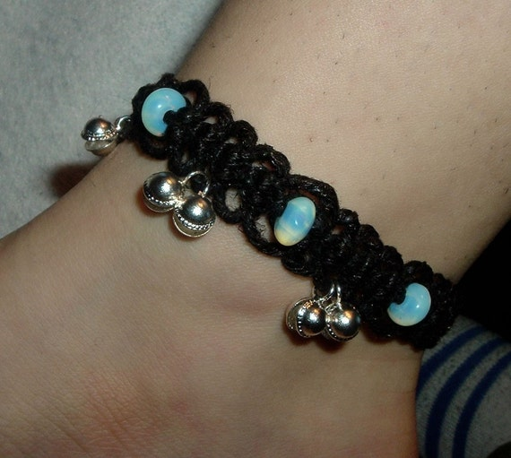 Moonstone Black Lace Bell Anklet - Gemstone Hemp Jewelry