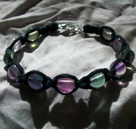 Fluorite Gemstone and Black Reiki Healing Hemp Bracelet - Rainbow Fluorite Gemstone Crystal Jewelry - Flourite Gemstone Bracelet - Jewelry