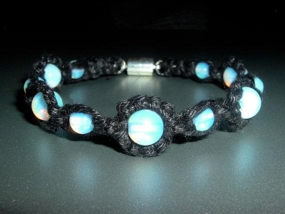 Opalite Magnetic Gemstone and Black Handmade Hemp Bracelet - Hemp Jewelry - Opalite Gemstone Jewelry - Gemstone Bracelet - Opalite Jewelry