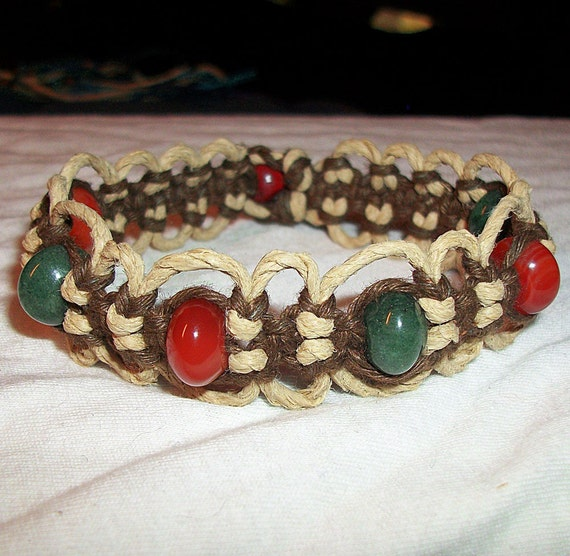 Carnelian and Aventurine Brown and Natural Phat Hemp Bracelet - Gemstone Hemp Jewelry