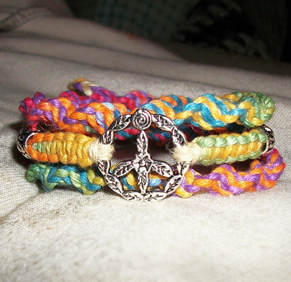 Rainbow Peace Sign Wrap Hemp Bracelet - Hemp Jewelry