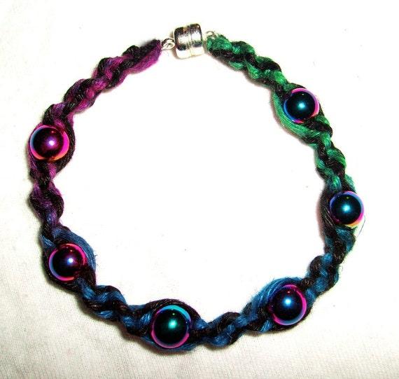 Rainbow Hematite Magnetic Anodized Hemp Bracelet - Gemstone Hemp Jewelry