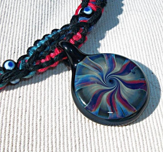 Art Glass Lampwork Boro Pendant on Split Strand Muted Rainbow Hemp Necklace - Hemp Jewelry