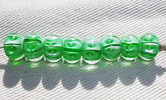 Green Stripe Lampwork Glass Beads Destash - Bright Green Handmade Lampwork Glass Beads