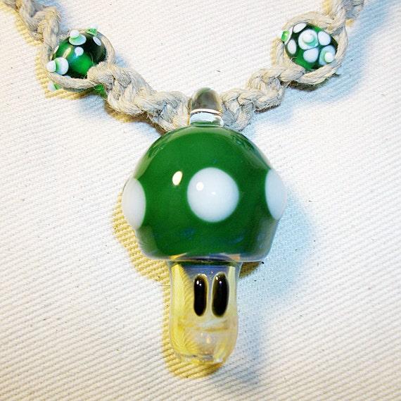 1 Up Mario Mushroom Pipe Bead Hemp Necklace - Green