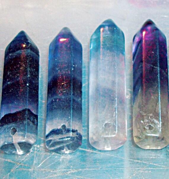 A Grade Rainbow Fluorite Crystal Point Lot - Gemstone Pendant Focal Destash