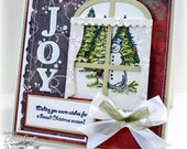 Warm Wishes Christmas Cabin Scented Handmade Card RESERVED FOR SWHITLEY6817
