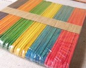 Popsicle wood sticks - 50pcs with 6 different colors for different crafting purposes (Let's decorate with your ideas)