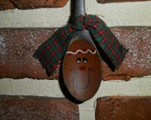 Primitive Gingerbread Hand Painted Wooden Spoon Ornament