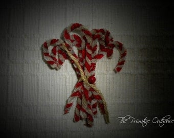 Primitive Chenille Candy Cane Ornaments Red And White