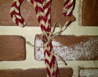 Primitive Chenille Large Candy Cane Ornaments Red And White