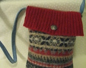 Small Red, Gray and Tan Wool Purse