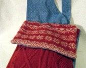 Red Wool and Denim Messenger Bag