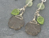 woodland flower earrings - sterling silver, smoky quartz, prehnite and peridot