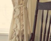 CUSTOM Tattered Ruffles Cotton Drapes Natural Linen Reserved for Andrea