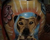 Ceramic burial PET URN Custom LARGE dog painting of your pet lead free, shipping FREE