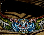 Tattoo leather dog collar Day of the dead skull with wings 2 inches WIDE