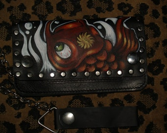 Tattoo Wallet Japanese KOI handpainted sailor Rockabilly with Chain