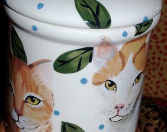 Tattoo Ceramic Cat treat Cannister COOKIE JAR custom ANY breed large