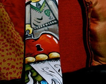 Tattoo leather Guitar STRAP hand painted CUSTOM Rockin one of a kind anything you want