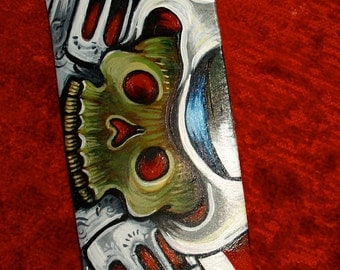 TATTOO leather Guitar STRAP handpainted Day of the Dead skull with guns roses ART