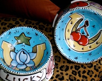 2 Tattoo DOG bowl LUCKY and LOVE ceramic hand painted