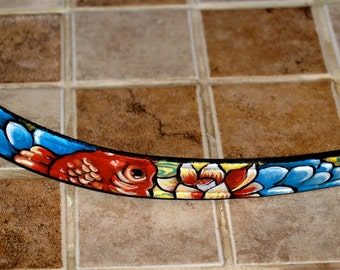 Black Leather TATTOO Dog Collar Handpainted KOI waves clouds  flowers 18 in med